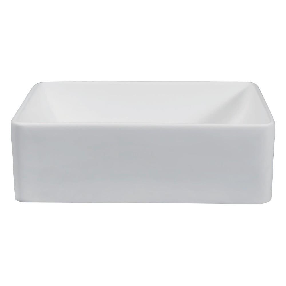 Fauceture  Solid Surface Matte Stone Single-Bowl Bathroom Sink, Matte White