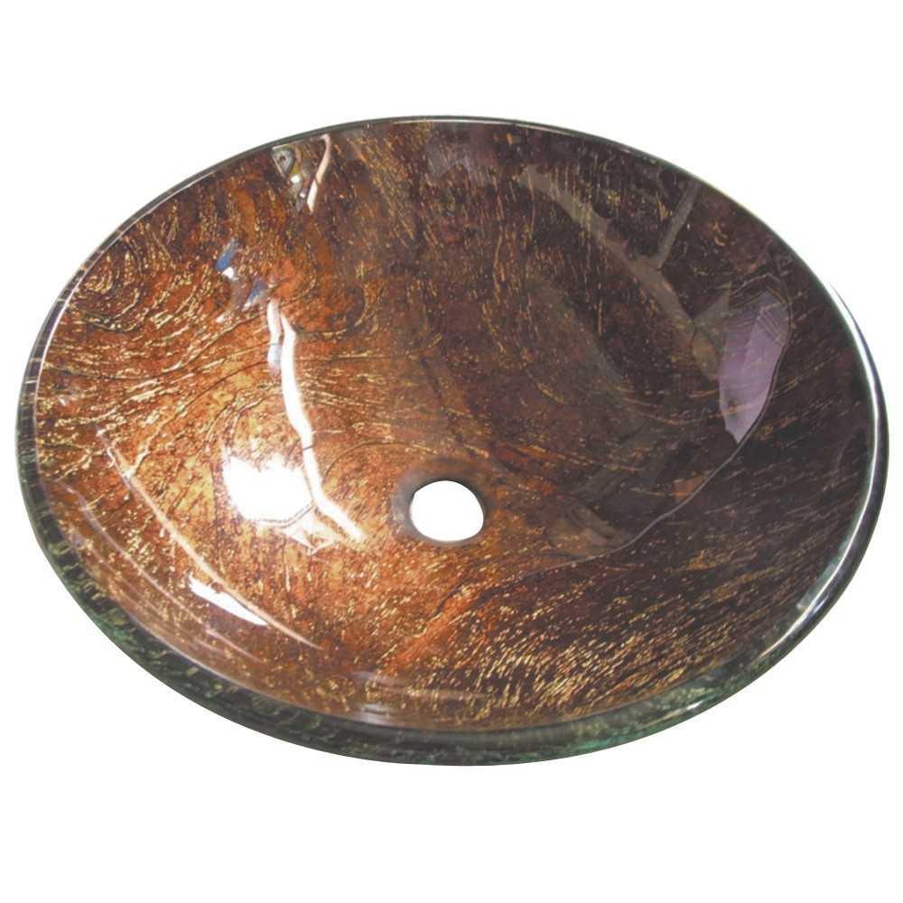 "Fauceture  Trieste 16-1/2"" Diameter Round Vessel Glass Sink, Amber Bronze"