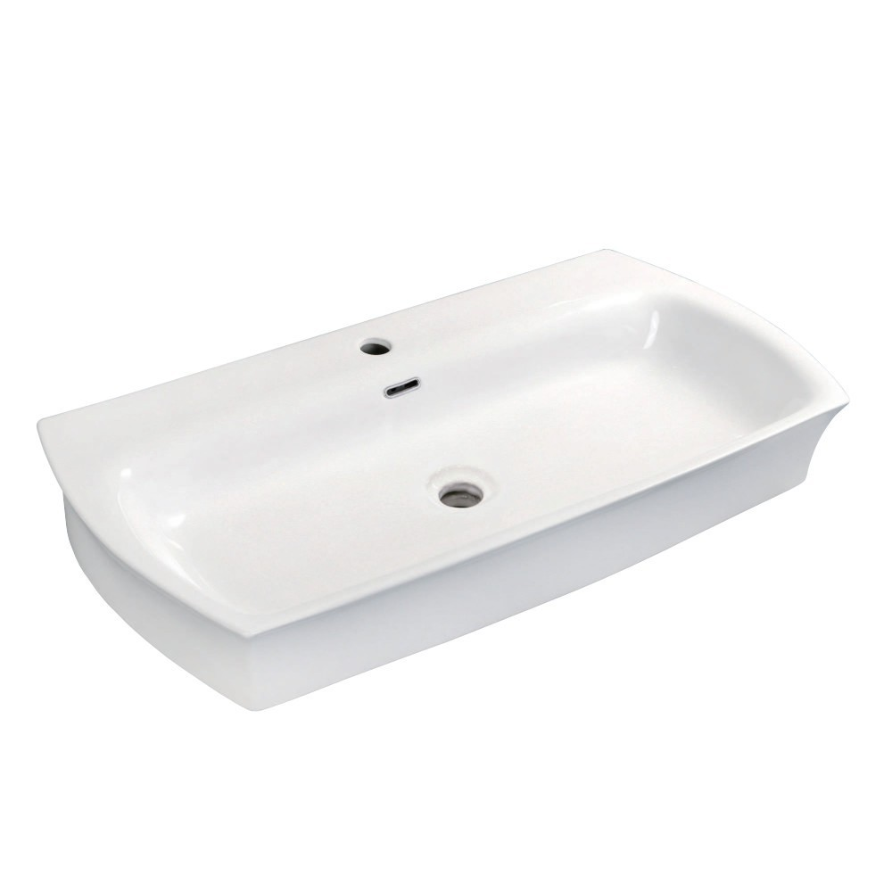 """Fauceture  Elongated 35"""" x 18"""" Rectangular White Vessel Sink, White"""