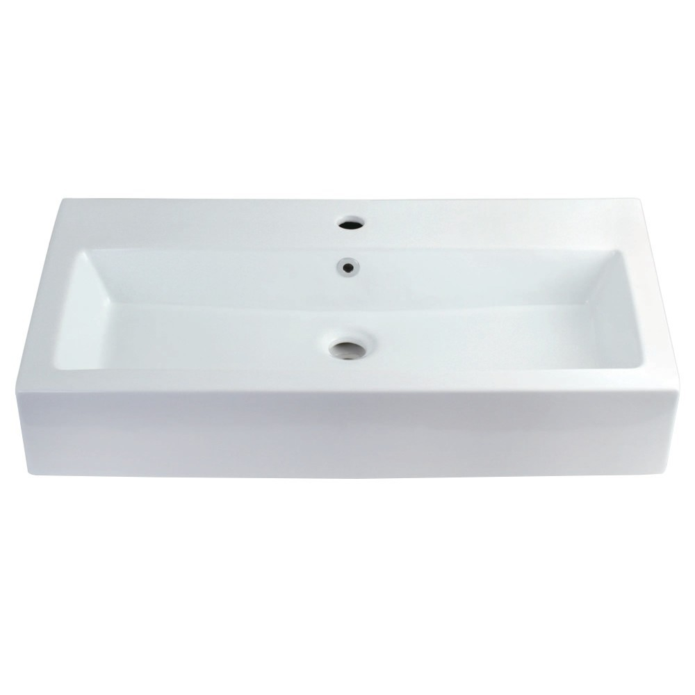 """Fauceture  Elongated 32"""" x 17"""" Rectangular White Vessel Sink, White"""