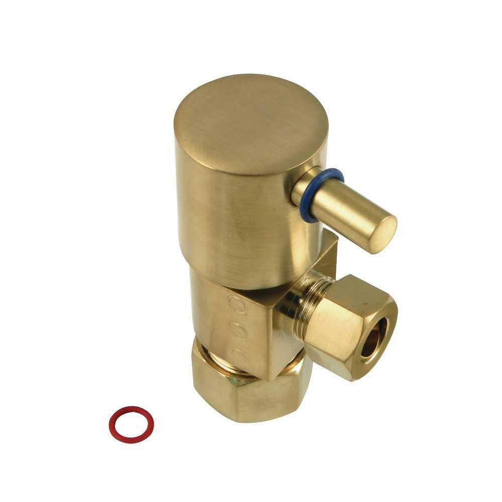 "Kingston Brass  Concord 5/8""O.D x 3/8"" O.D Anti-Seize Deluxe Quarter Turn Ceramic Hardisc Cartridge Angle Stop, Brushed Brass"