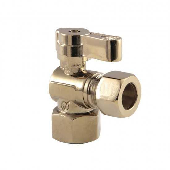 Kingston Brass  1/2 Fip X 1/2 OD Comp Angle Stop Valve, Polished Brass