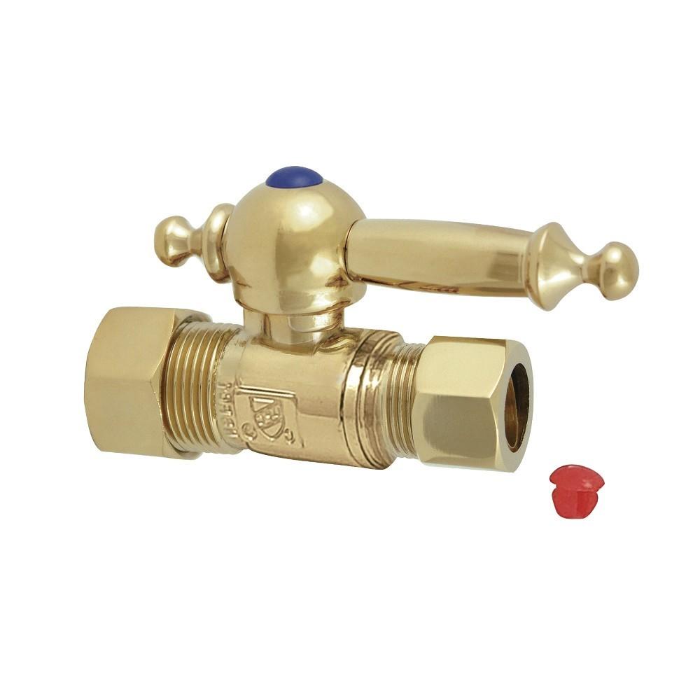 "Kingston Brass  5/8"" O.D. Compression, 1/2"" O.D. Compression Straight Shut-off Valve, Polished Brass"