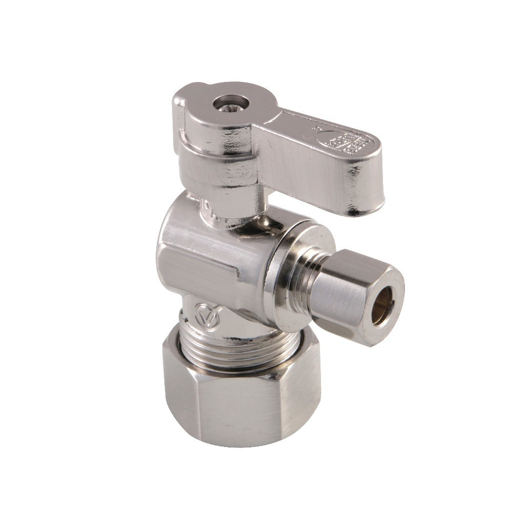 """Kingston Brass  5/8"""" O.D. Comp x 1/4"""" O.D. Comp Angle Stop Valve, Brushed Nickel"""