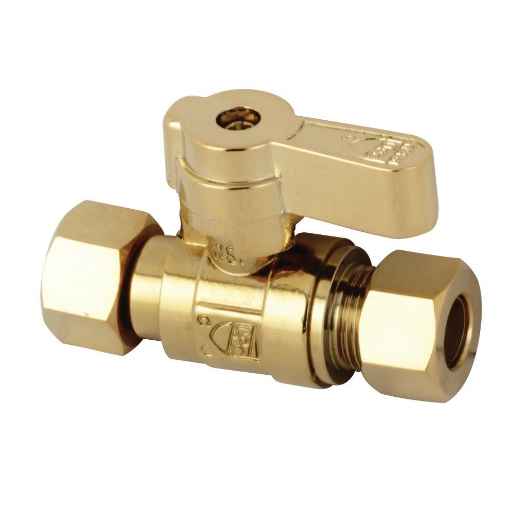 Kingston Brass  3/8 OD X 3/8 OD Comp Straight Stop Valve, Polished Brass