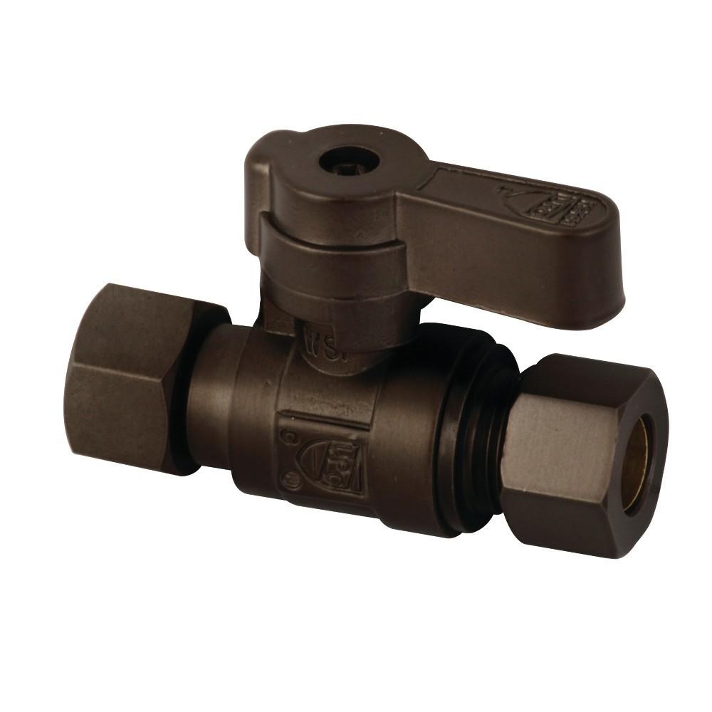 Kingston Brass  3/8 OD X 3/8 OD Comp Straight Stop Valve, Oil Rubbed Bronze