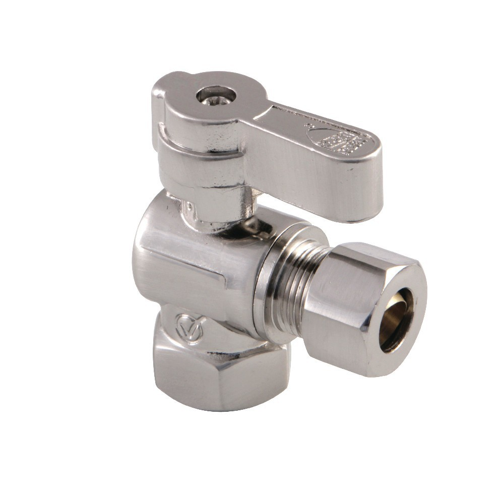 Kingston Brass  3/8 Fip X 3/8 OD Comp Angle Stop Valve with Lever Handle, Brushed Nickel