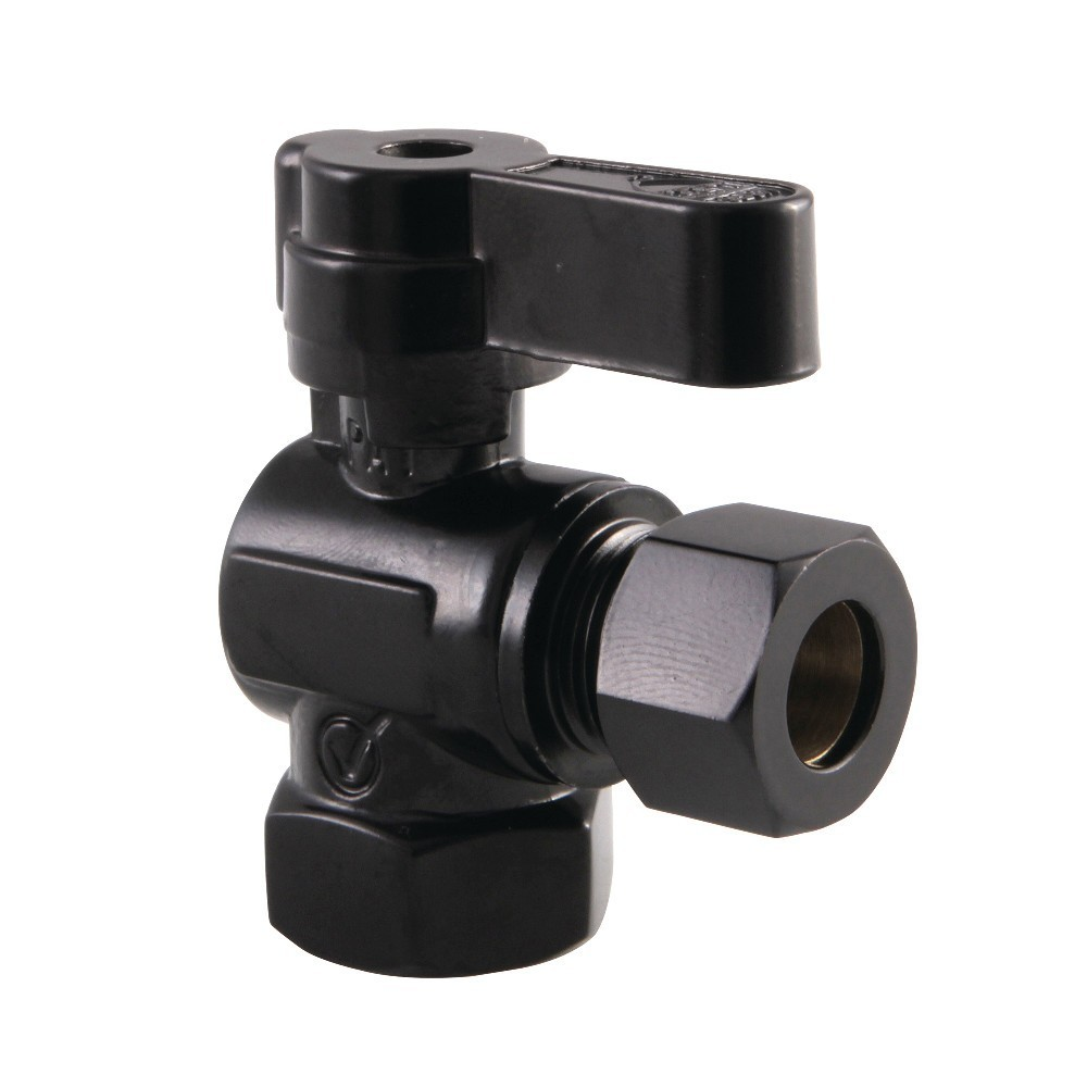 Kingston Brass  3/8 Fip X 3/8 OD Comp Angle Stop Valve with Lever Handle, Matte Black