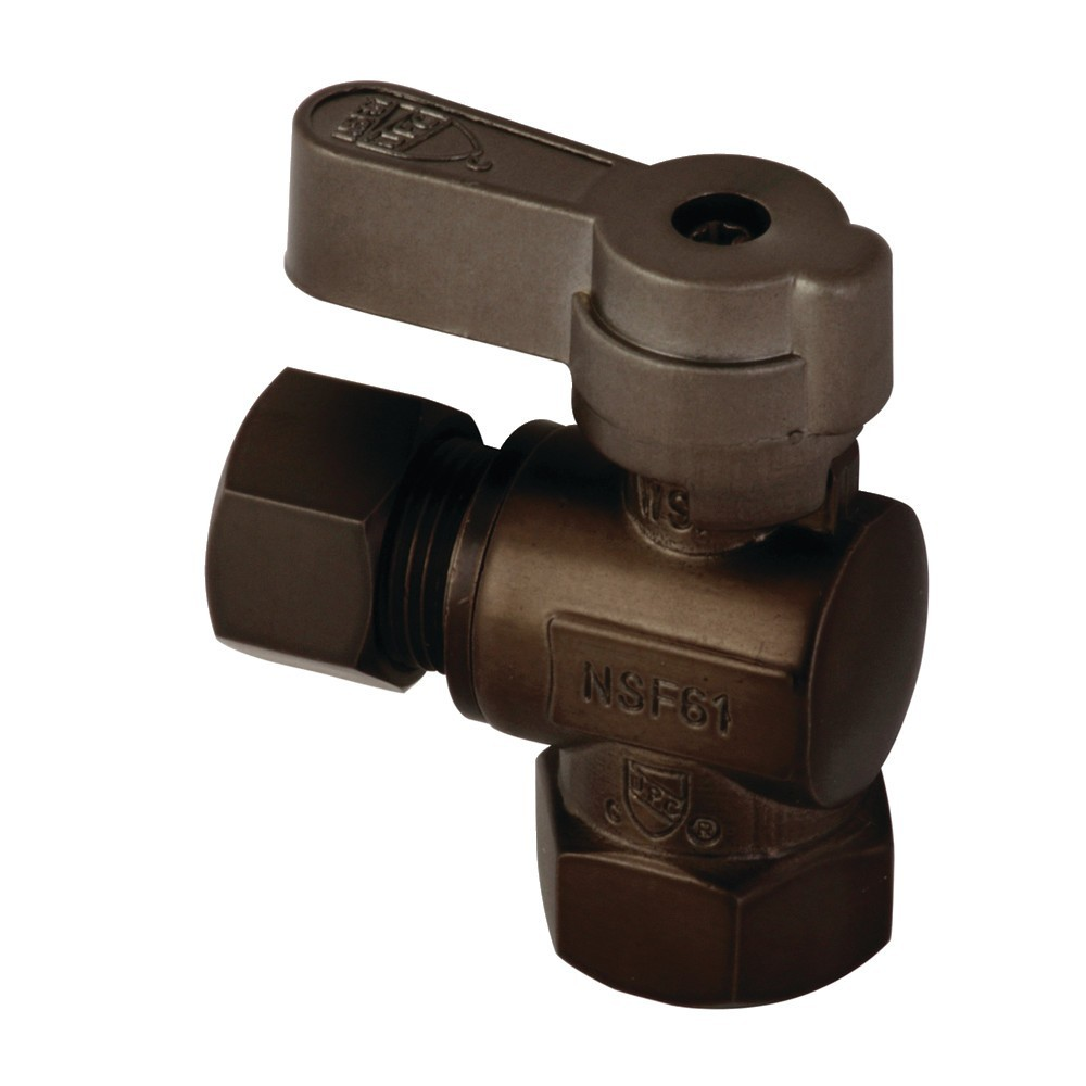 Kingston Brass  3/8 Fip X 3/8 OD Comp Angle Stop Valve with Lever Handle, Oil Rubbed Bronze
