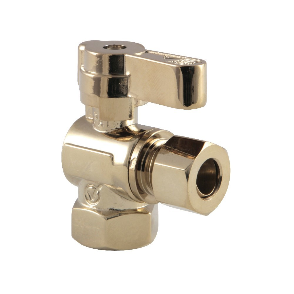 Kingston Brass  3/8 Fip X 3/8 OD Comp Angle Stop Valve with Lever Handle, Polished Brass