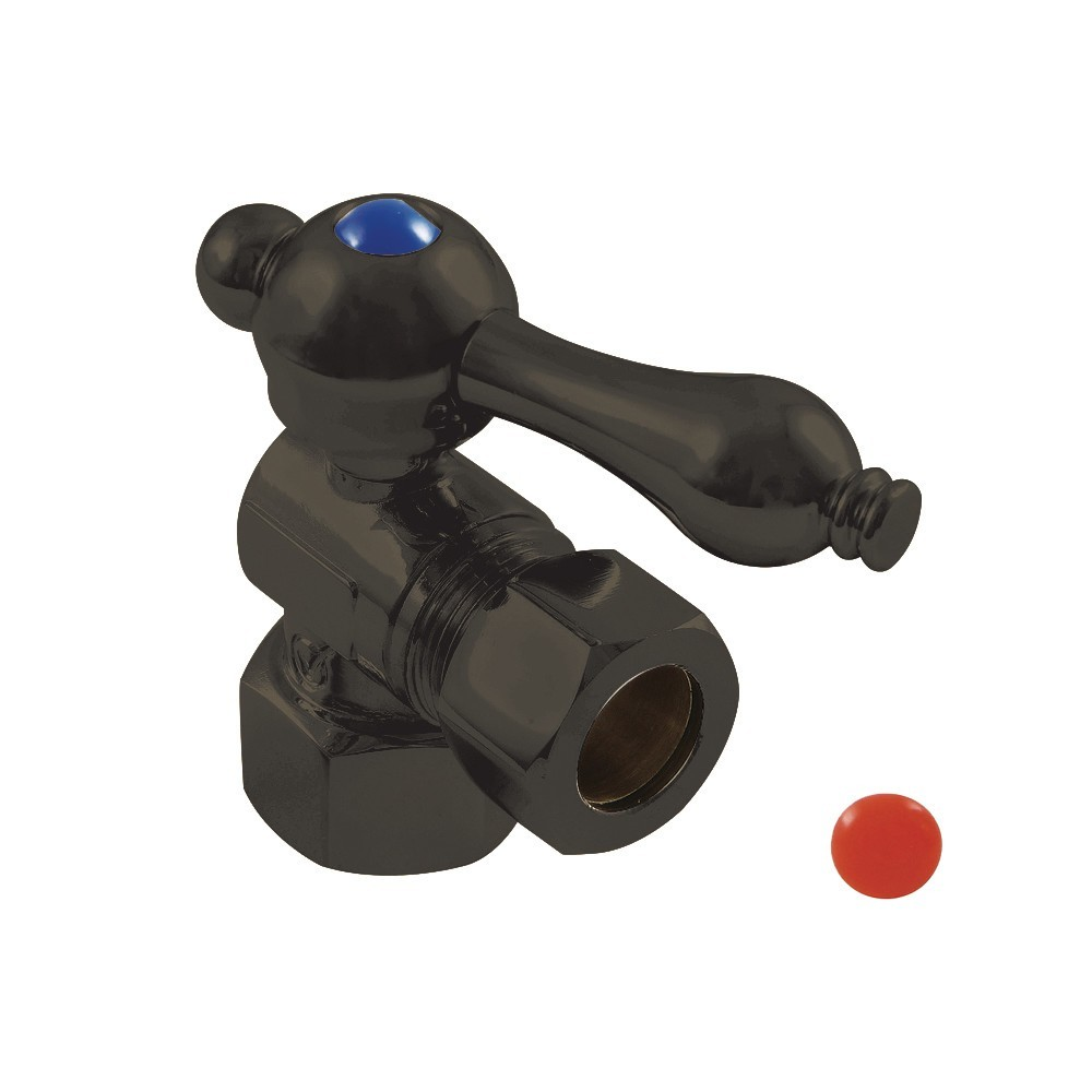 """Kingston Brass  1/2"""" IPS, 1/2"""" O.D. Compression Angle Shut-off Valve, Oil Rubbed Bronze"""
