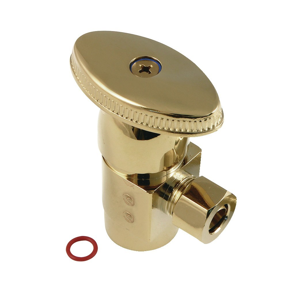 "1/2""IPS x 3/8""O.D. Anti-Seize Deluxe Quarter Turn Ceramic Hardisc Cartridge Angle Stop, Polished Brass"