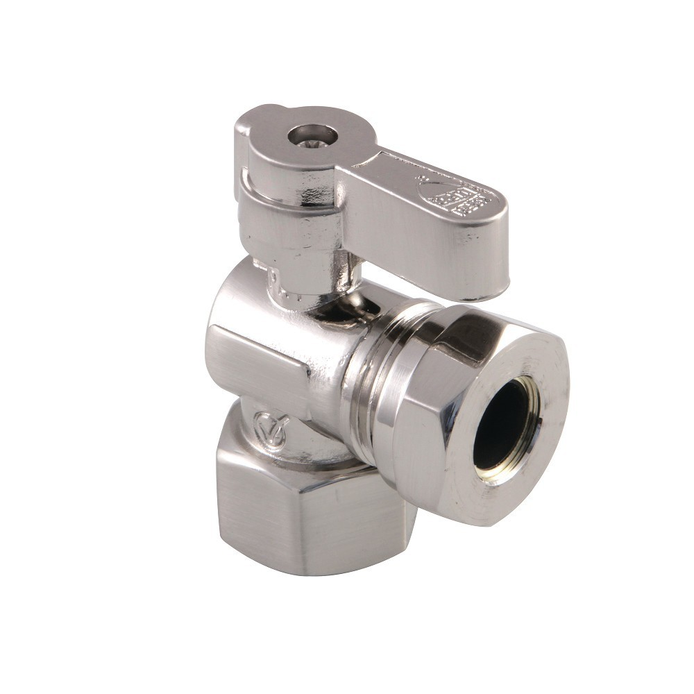 Kingston Brass  1/2 Fip X 1/2 and 7/16 OD Slip Joint Angle Stop Valve, Brushed Nickel