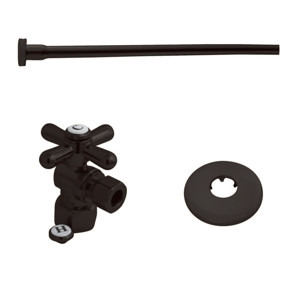 """Kingston Brass  Toilet Supply Kit, 1/2"""" IPS (Iron Pipe Size) Inlet - 3/8"""" Outlet, Oil Rubbed Bronze"""