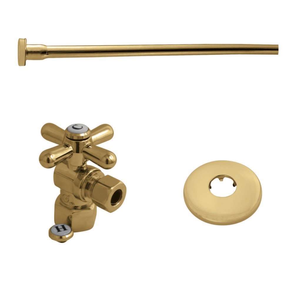 """Kingston Brass  Toilet Supply Kit, 1/2"""" IPS (Iron Pipe Size) Inlet - 3/8"""" Outlet, Polished Brass"""