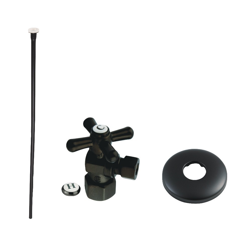 Kingston Brass  Trimscape Toilet Supply Kit Combo 1/2-Inch IPS X 3/8-Inch Comp Outlet, Matte Black