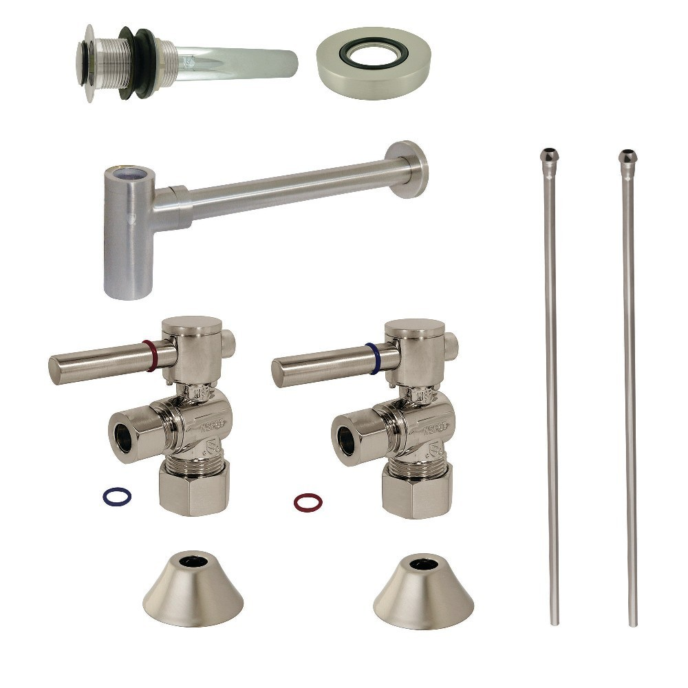 Kingston Brass  Modern Plumbing Sink Trim Kit with Bottle Trap and Drain, Brushed Nickel