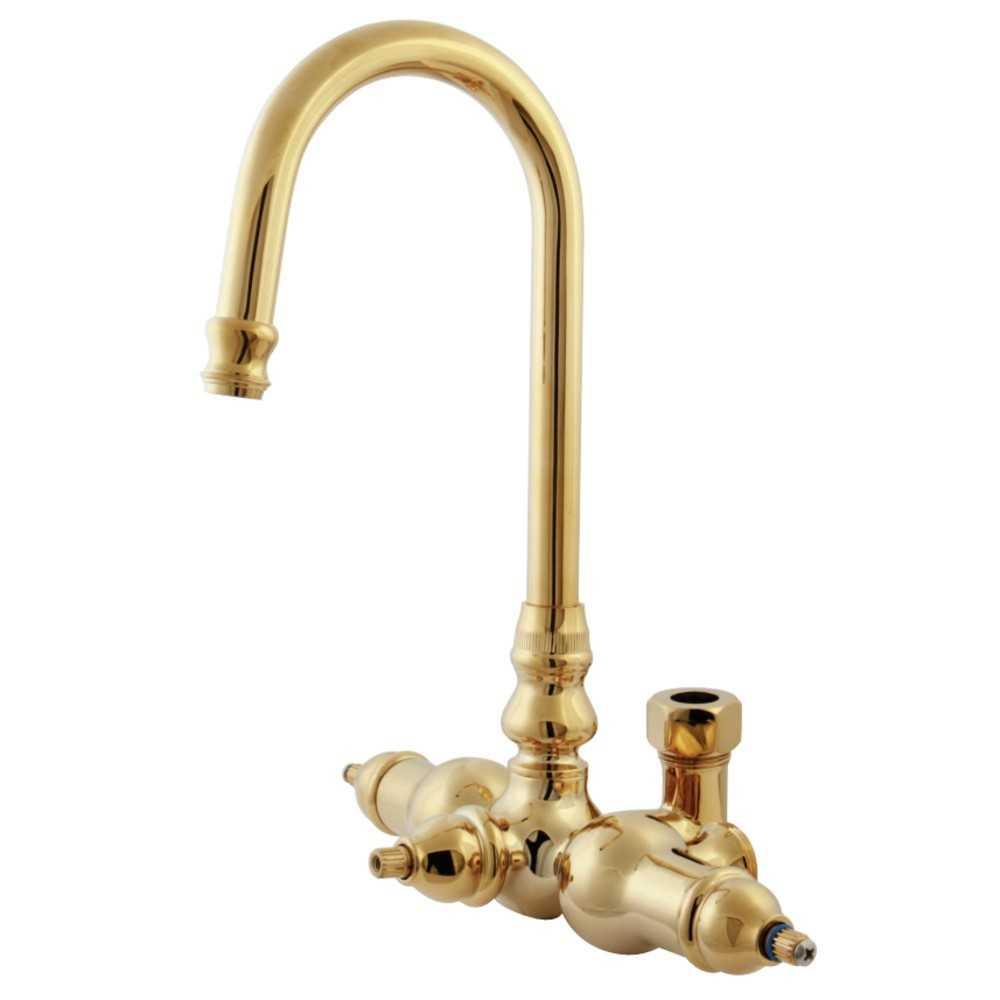 Kingston Brass  Vintage Gooseneck Faucet With Back Outlet & Diverter, Polished Brass