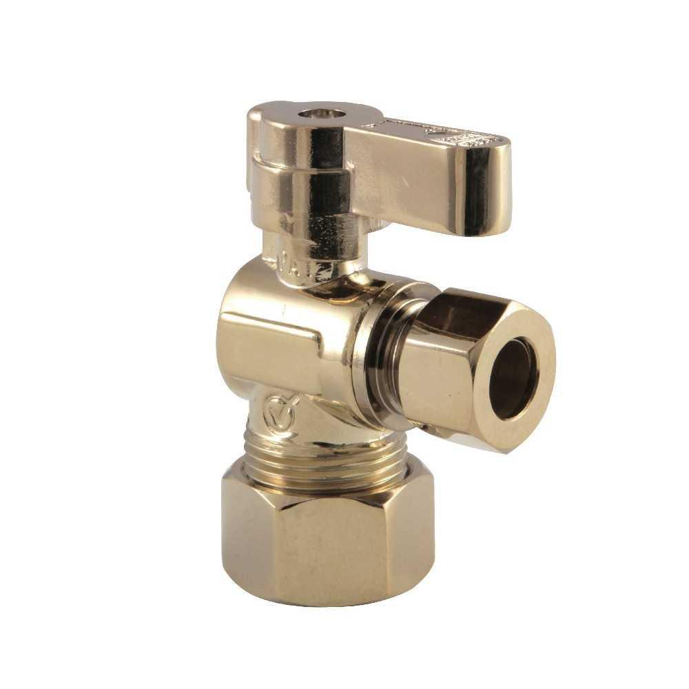 Kingston Brass  5/8-Inch OD Comp X 3/8-Inch OD Comp Angle Stop Valve, Polished Brass