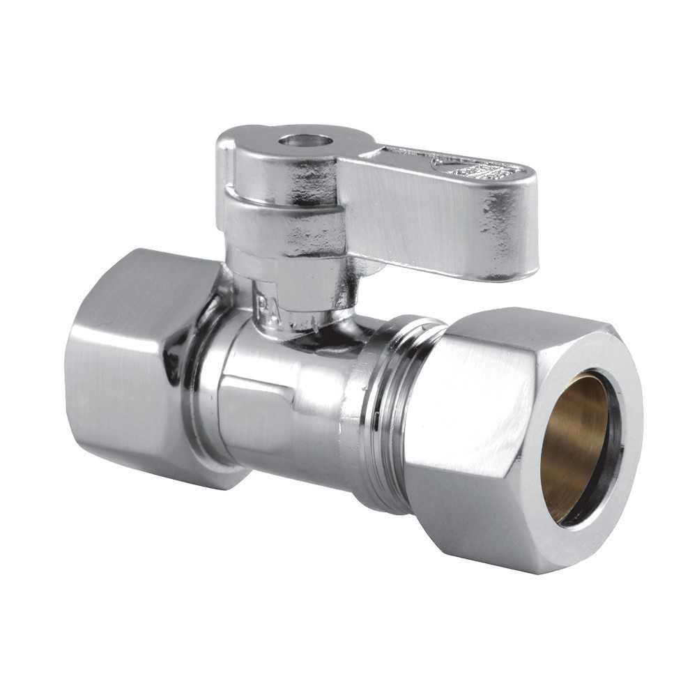 "1/2"" IPS x 5/8"" O.D Comp Straight Shut Off valve, Polished Chrome"