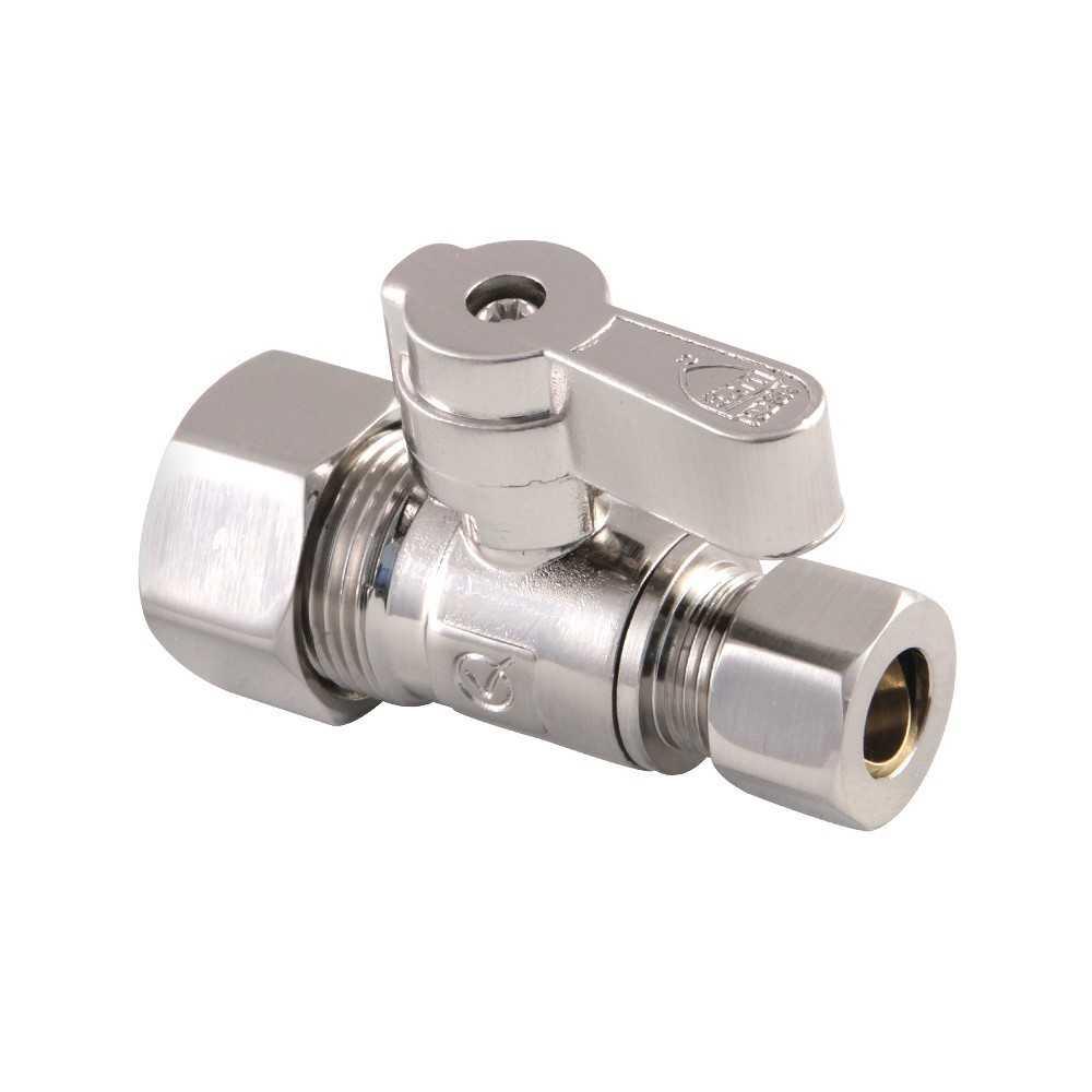 Kingston Brass  5/8-Inch OD X 3/8-Inch OD Comp Straight Stop Valve, Brushed Nickel