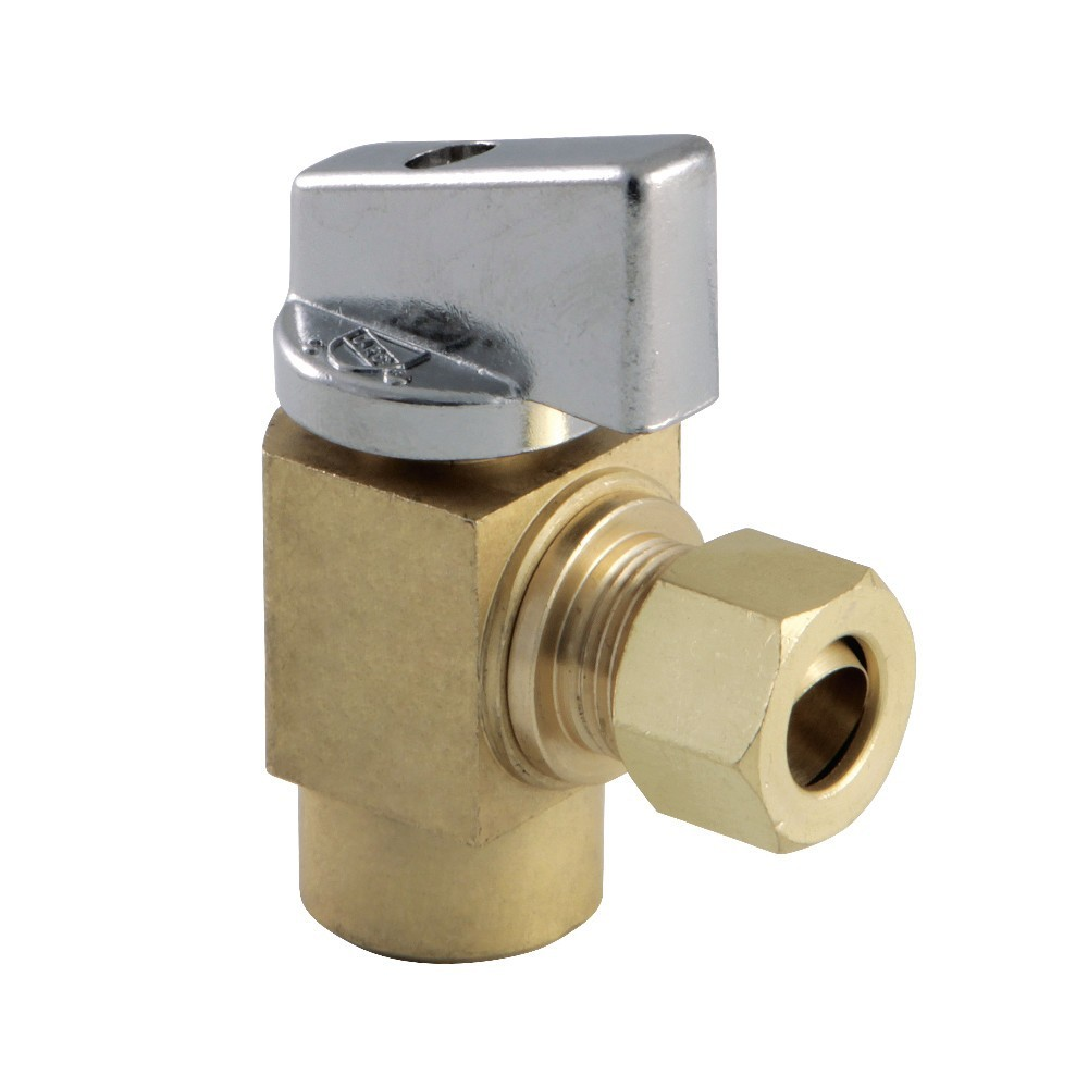 """Kingston Brass  Columbia 1/2""""SWT x 3/8""""O.D Compression 1/4 Turn Angle Stop Valve, Raw Brass"""