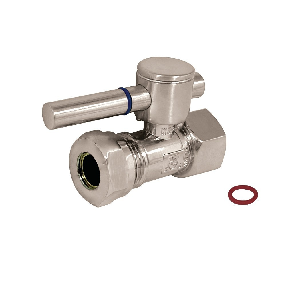 """Fauceture  1/2"""" IPS, 1/2"""" or 7/16"""" Slip Joint Straight Valve, Brushed Nickel"""