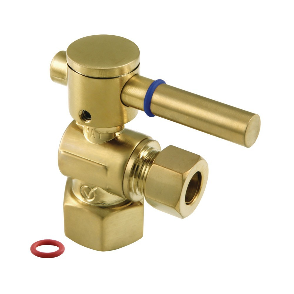 """Fauceture  Quarter Turn Valves (1/2"""" FIP X 3/8"""" O.D. Compression), Brushed Brass"""