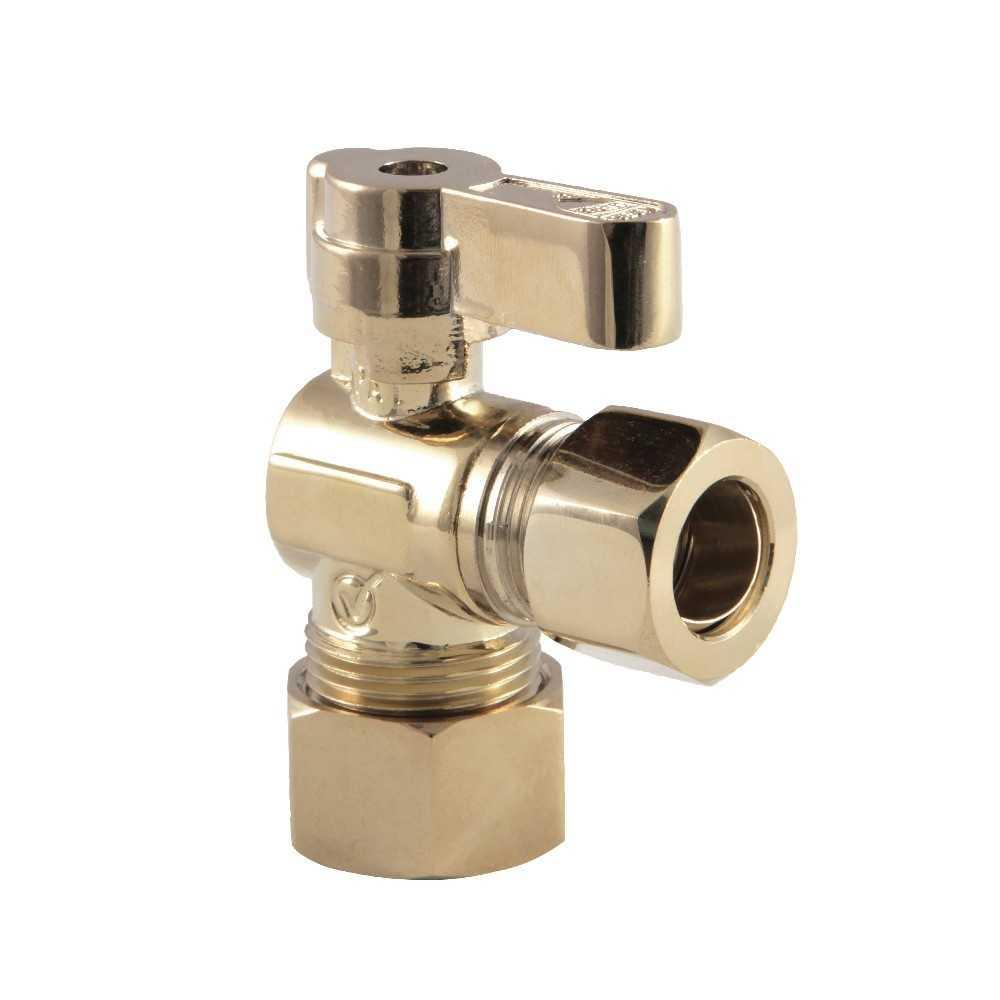 Kingston Brass  5/8-Inch OD X 1/2-Inch OD Comp Angle Stop Valve, Polished Brass