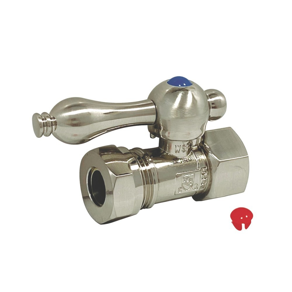 Kingston Brass  Quarter Turn Valves (1/2-Inch FIP X 1/2-Inch and 7/16-Inch O.D. Slip Joint), Brushed Nickel