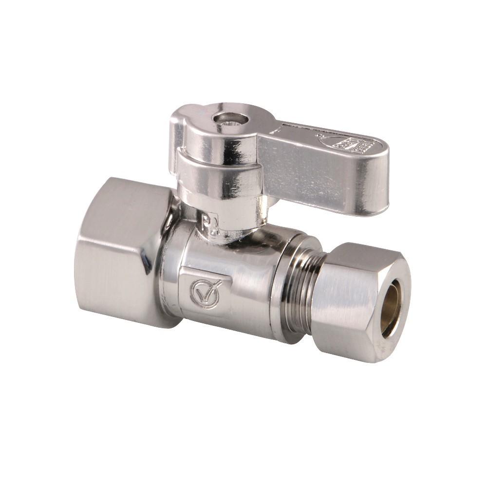 Kingston Brass  1/2 FIP X 3/8 OD Comp Straight Stop Valve, Brushed Nickel