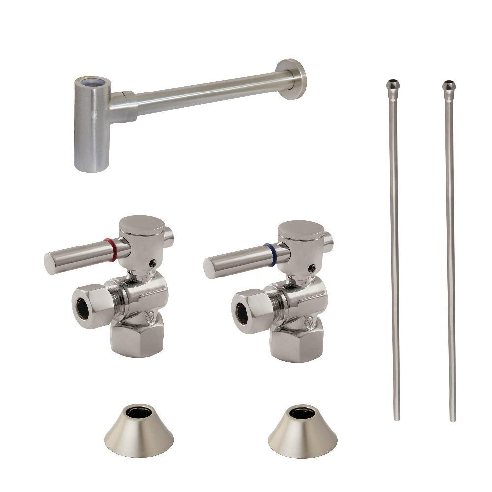 Kingston Brass  Modern Plumbing Sink Trim Kit with Bottle Trap, Brushed Nickel