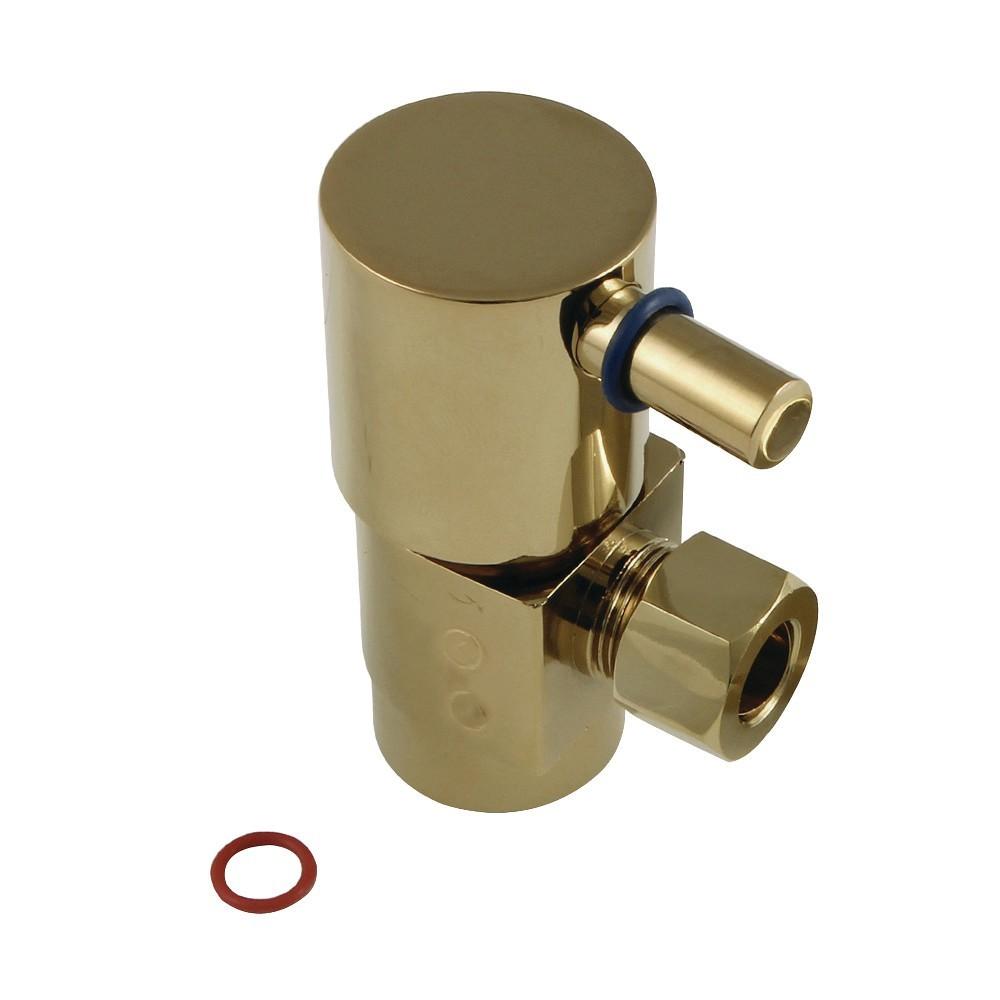 "Kingston Brass  Concord 1/2""IPS x 3/8""O.D. Anti-Seize Deluxe Quarter Turn Ceramic Hardisc Cartridge Angle Stop, Brushed Brass"