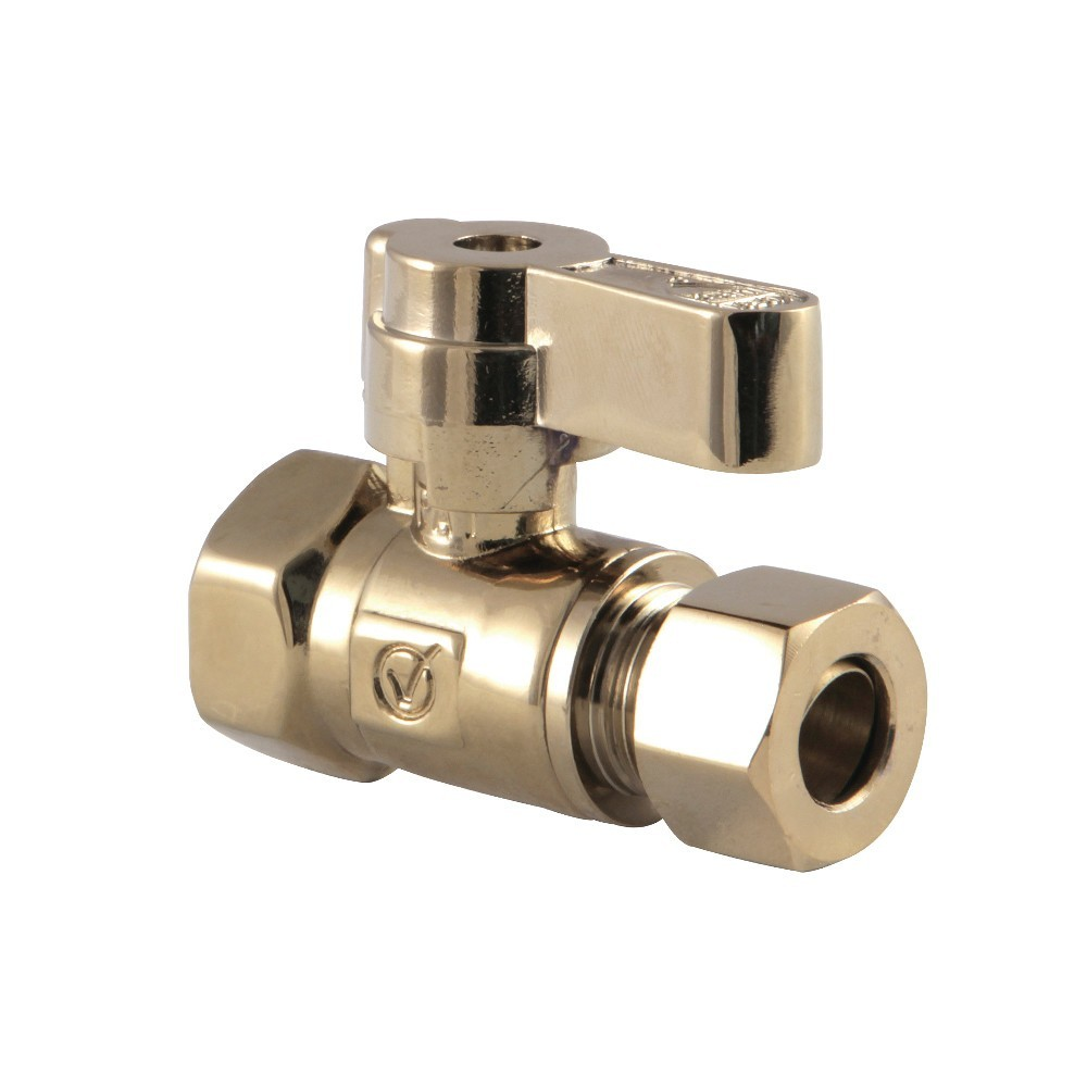 Kingston Brass  3/8 Fip X 3/8 OD Comp Straight Stop Valve with Lever Handle, Polished Brass