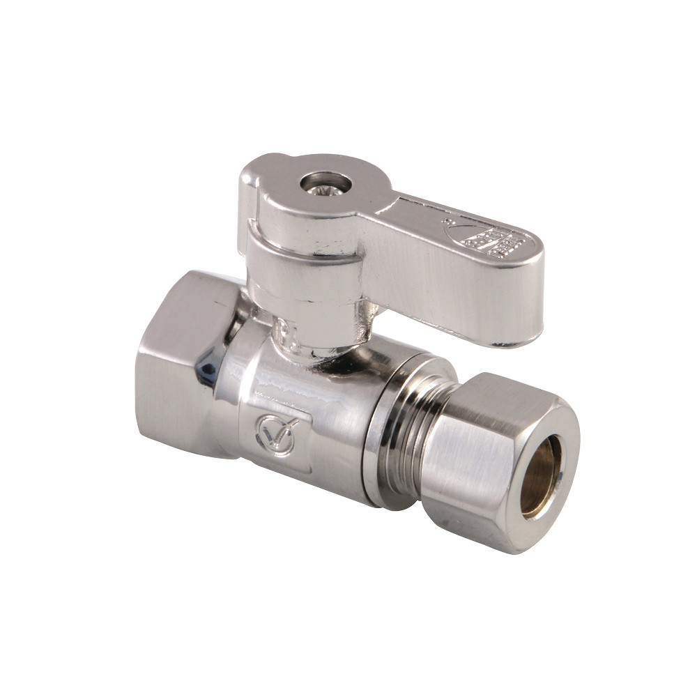 Kingston Brass  3/8 Fip X 3/8 OD Comp Straight Stop Valve with Lever Handle, Brushed Nickel