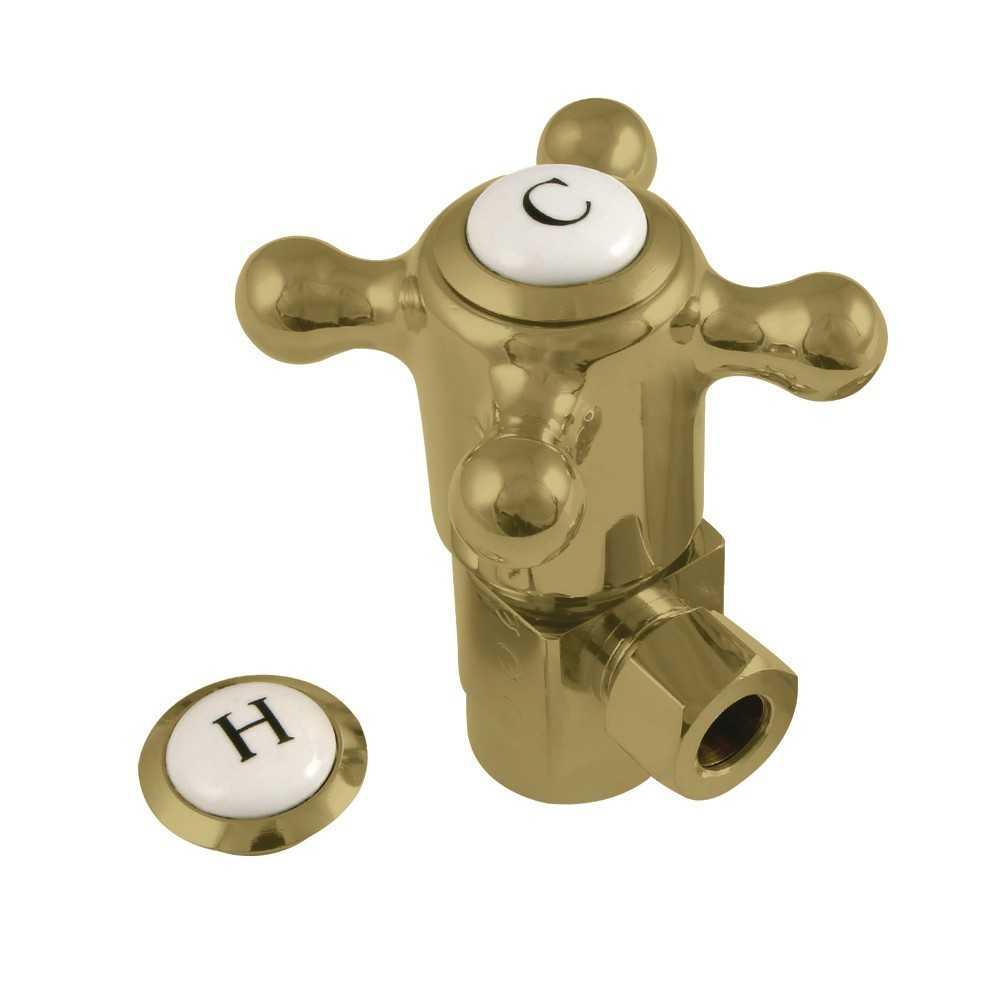 "Kingston Brass  1/2""IPS x 3/8""O.D. Anti-Seize Quarter Turn Angle Stop, Brushed Brass"