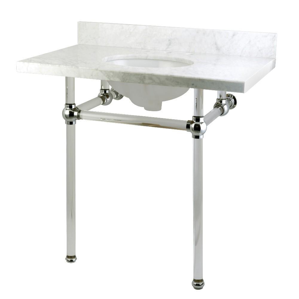Templeton 36X22 Carrara Marble Vanity Top with Clear Acrylic Feet Combo, Carrara Marble/Polished Chrome