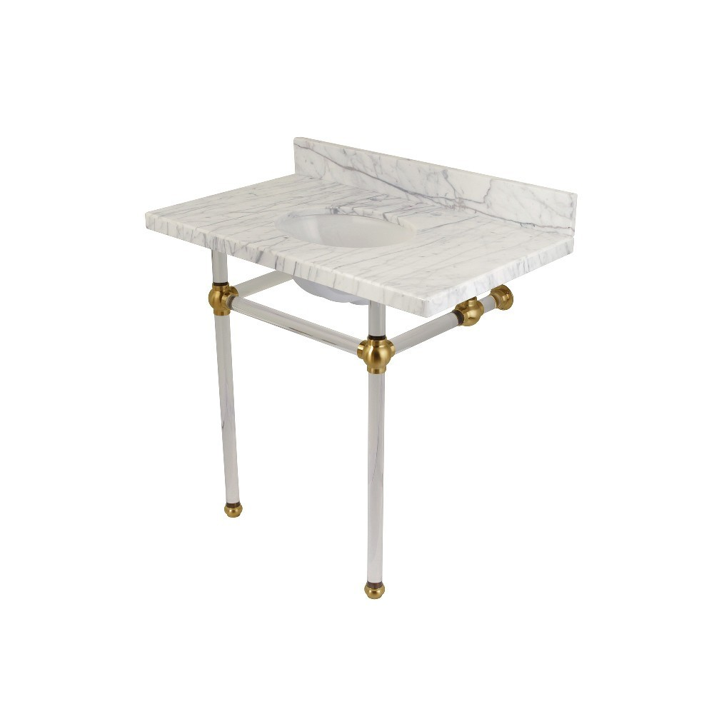 Templeton 36X22 Carrara Marble Vanity Top with Clear Acrylic Feet Combo, Carrara Marble/Brushed Brass