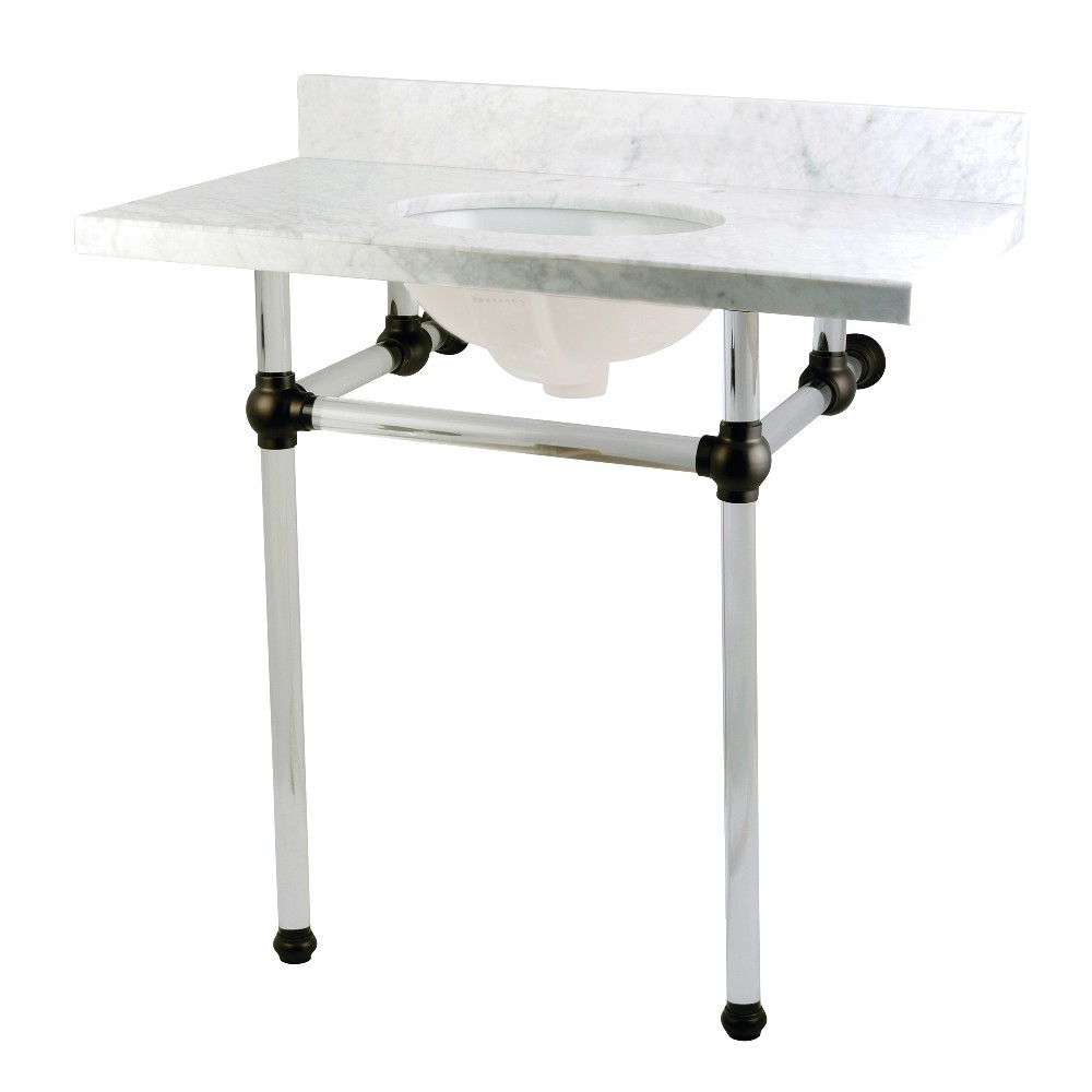 Templeton 36X22 Carrara Marble Vanity Top with Clear Acrylic Feet Combo, Carrara Marble/Matte Black