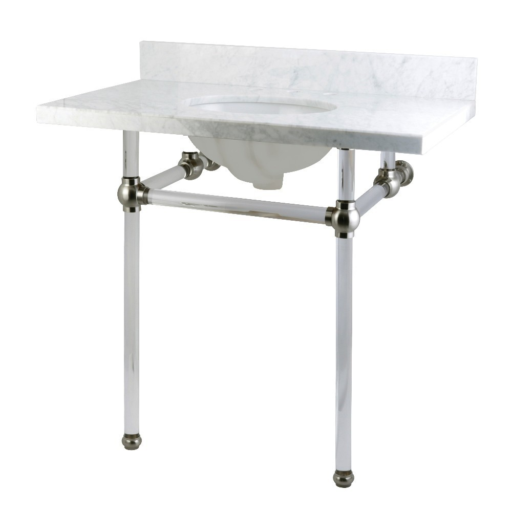 Templeton 36X22 Carrara Marble Vanity Top with Clear Acrylic Feet Combo, Carrara Marble/Brushed Nickel