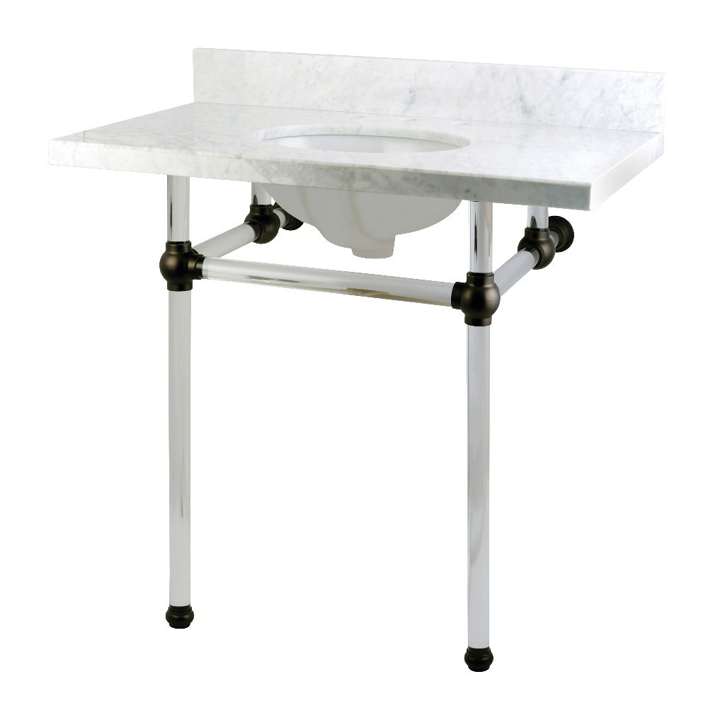 Templeton 36X22 Carrara Marble Vanity Top with Clear Acrylic Feet Combo, Carrara Marble/Oil Rubbed Bronze