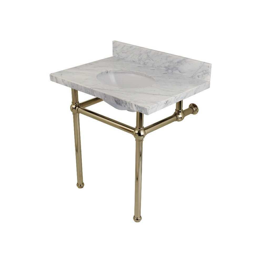 Templeton 30X22 Carrara Marble Vanity Top with Brass Feet Combo, Carrara Marble/Polished Nickel
