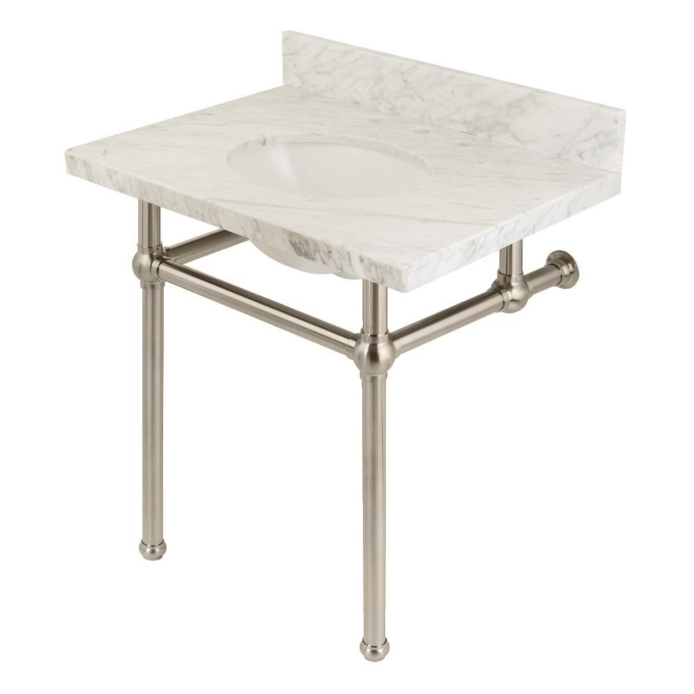 Templeton 30X22 Carrara Marble Vanity Top with Brass Feet Combo, Carrara Marble/Brushed Nickel