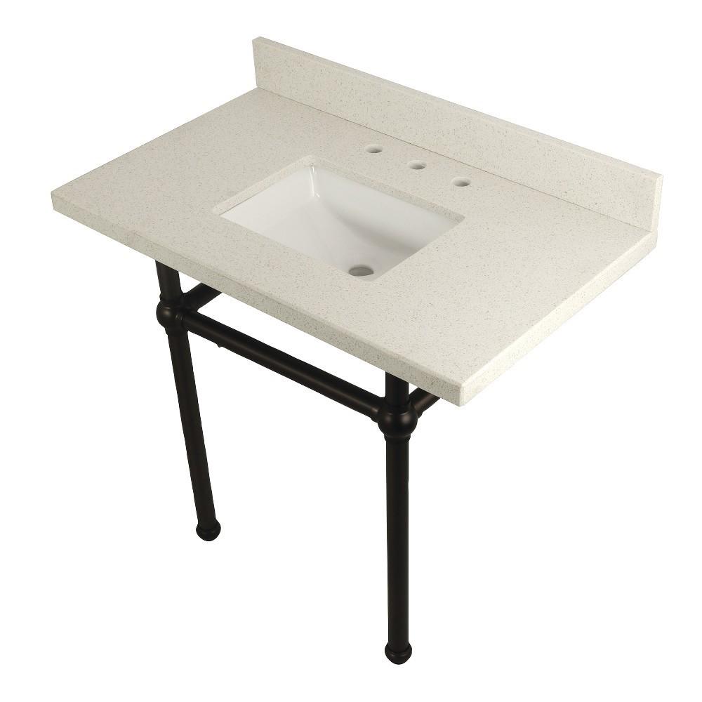 "Templeton 36"" x 22"" White Quartz Console Sink with Brass Feet, White Quartz/Oil Rubbed Bronze"