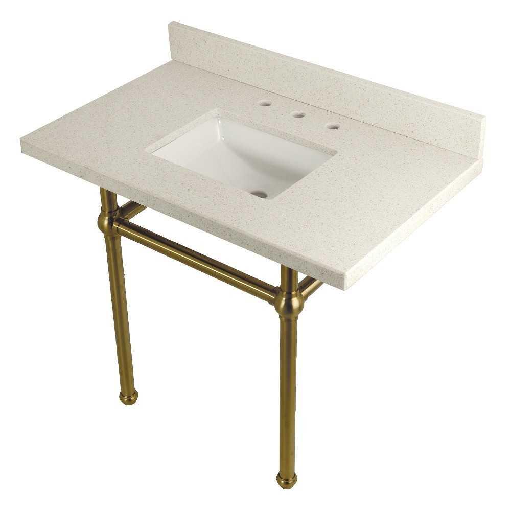 "Templeton 36"" x 22"" White Quartz Console Sink with Brass Feet, White Quartz/Brushed Brass"