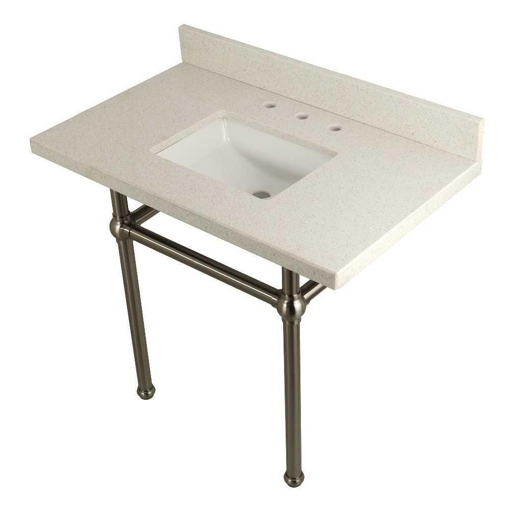 "Templeton 36"" x 22"" White Quartz Console Sink with Brass Feet, White Quartz/Brushed Nickel"