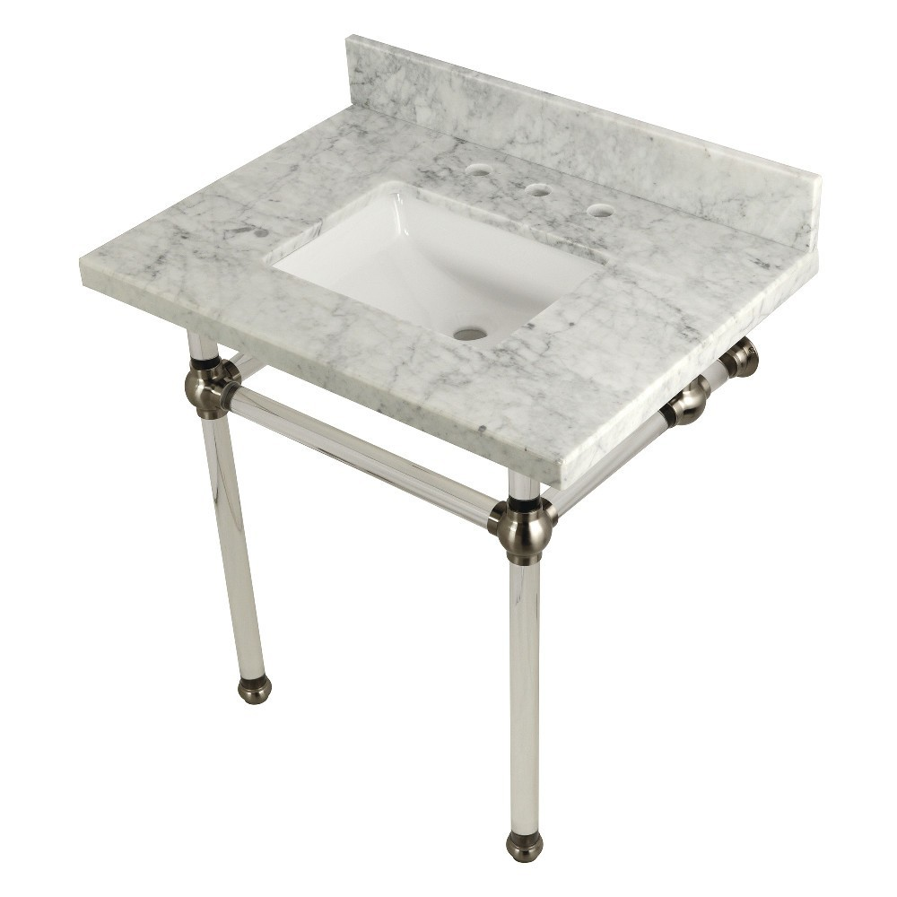 Templeton 30X22 Carrara Marble Vanity Top with Clear Acrylic Feet Combo, Carrara Marble/Brushed Nickel