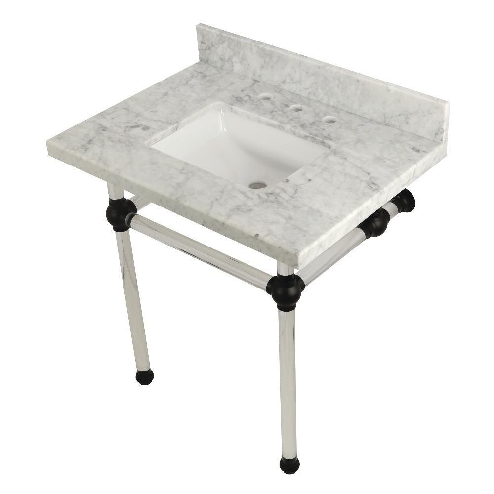 Templeton 30X22 Carrara Marble Vanity Top with Clear Acrylic Feet Combo, Carrara Marble/Matte Black