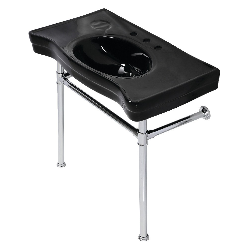 Fauceture  Imperial Console Sink Basin with Stainless Steel Leg, Black/Polished Chrome