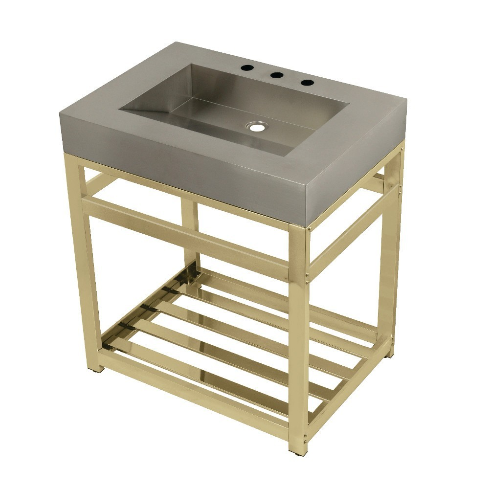 """Fauceture 31"""" Stainless Steel Sink with Steel Console Sink Base, Brushed/Polished Brass"""